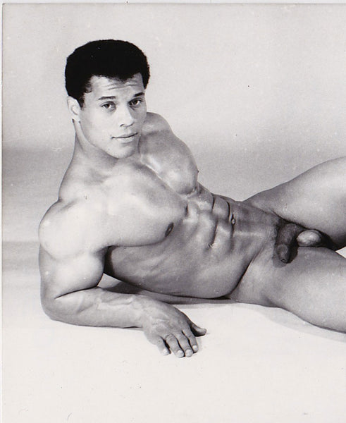 Vintage photo of bodybuilder Rick Wayne by Jean Ferrero, Nice, France.