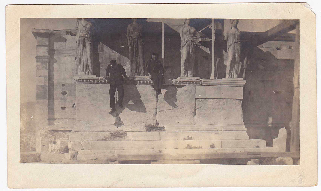 Sailors on the Porch of the Maidens vintage snapshot