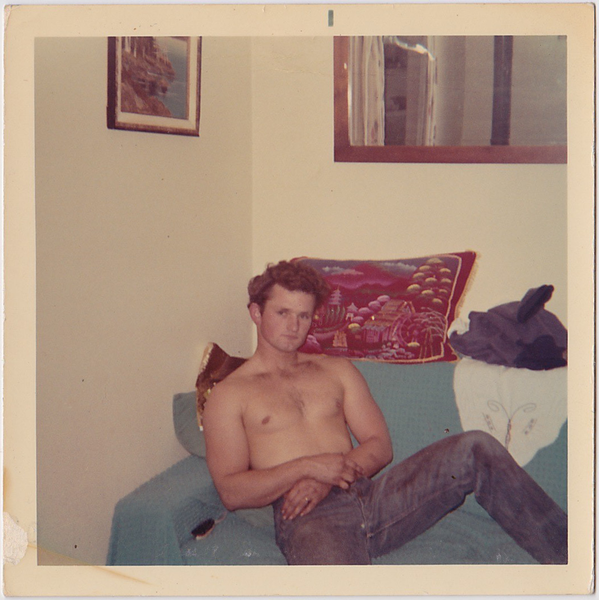 Handsome Shirtless Man Reclining: Vintage Gay Photo
