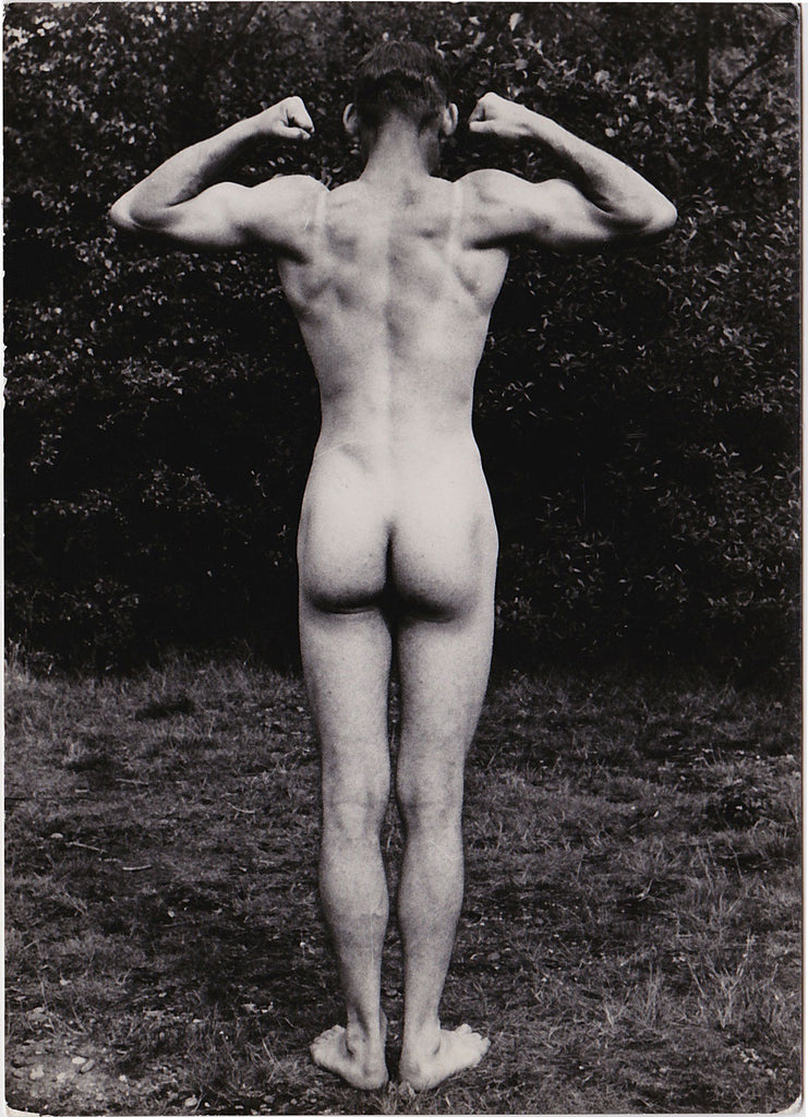 Vintage Physique Photo: Standing Male Nude Back