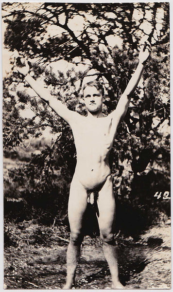 Vintage Physique Photo: Male Nude with Arms Outstretched