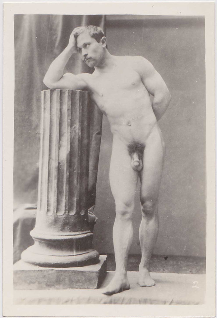 Vintage Physique Photo: Male Nude Leaning on Column