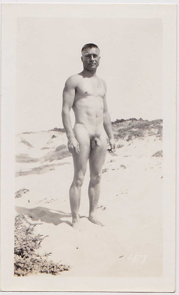 Vintage Physique Photo: Standing Male Nude at Beach