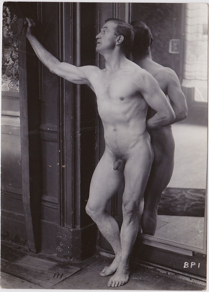 Vintage Physique Photo: Male Nude with Mirror
