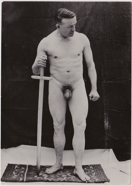 Vintage Physique Photo: Standing Male Nude with Large Sword