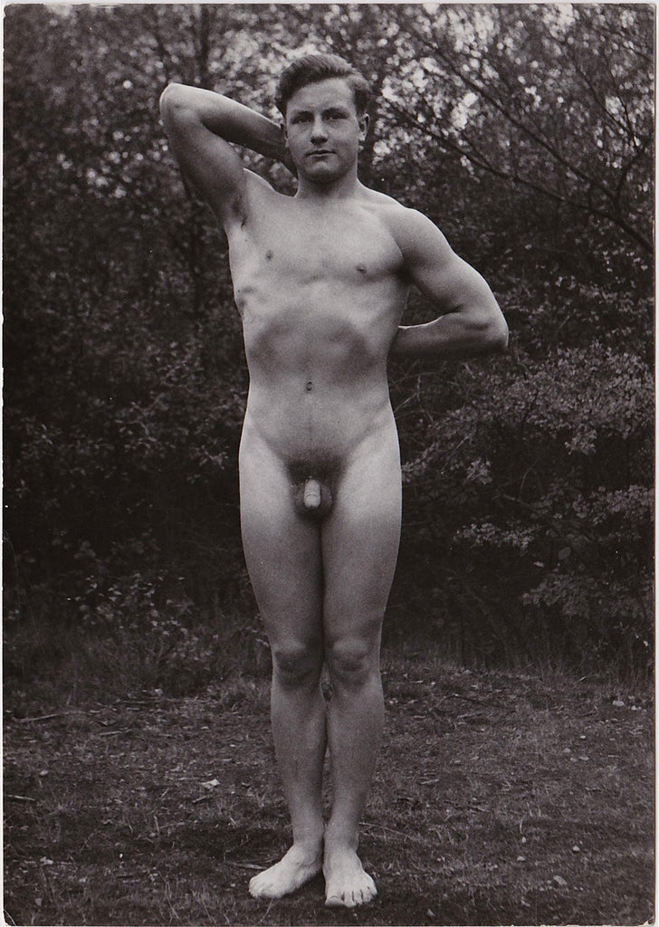 Vintage Physique Photo: Standing Male Nude