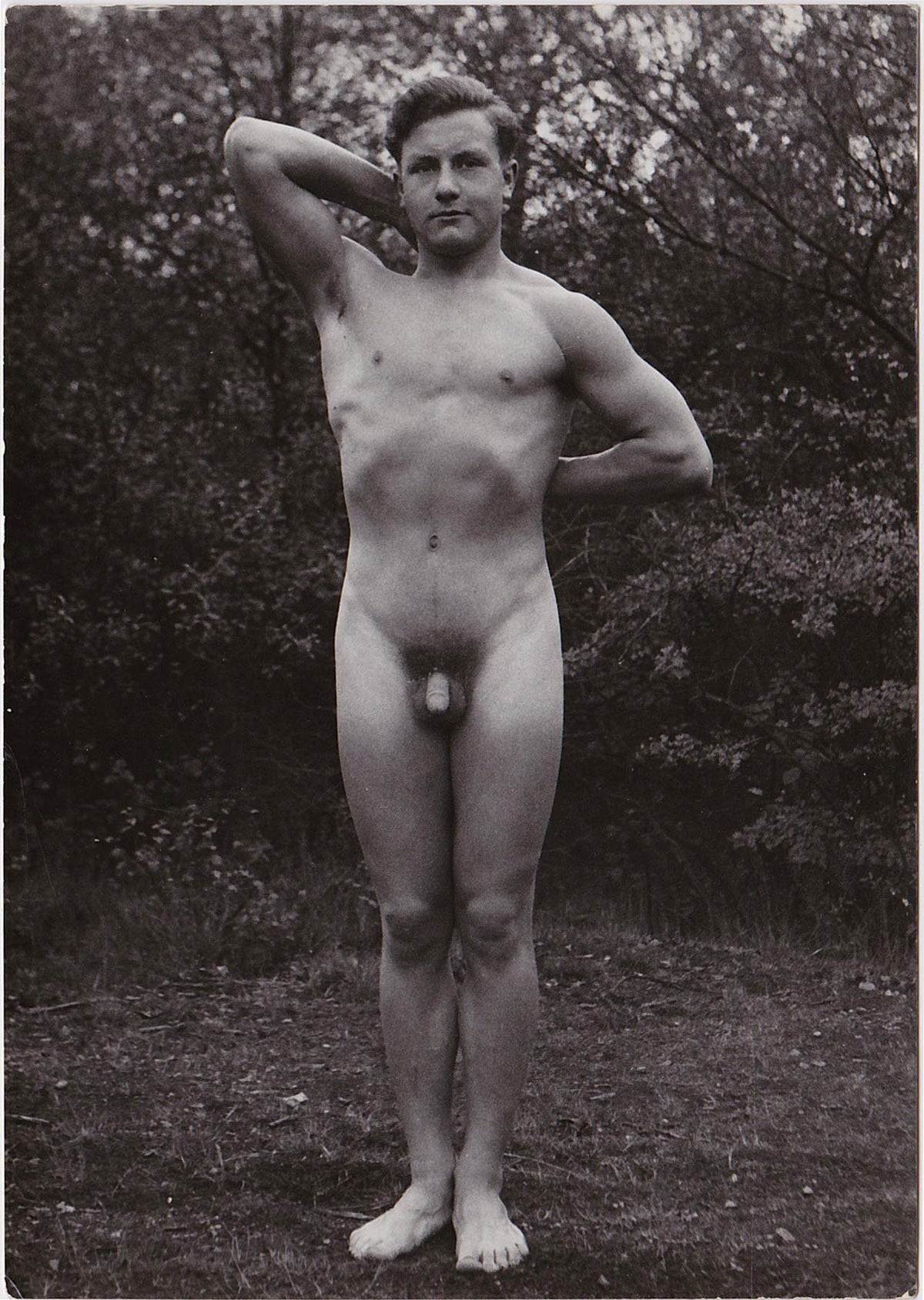Vintage Physique Photo Standing Male Nude  Homobilia-3308