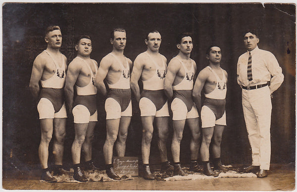 Men in Rows, Wrestling Team, Vintage Real Photo Postcard