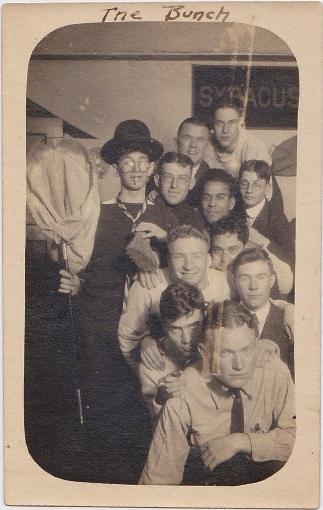 "With the Syracuse banner hanging on the wall, this group of young guys AKA ""The Bunch"" vintage sepia photo"