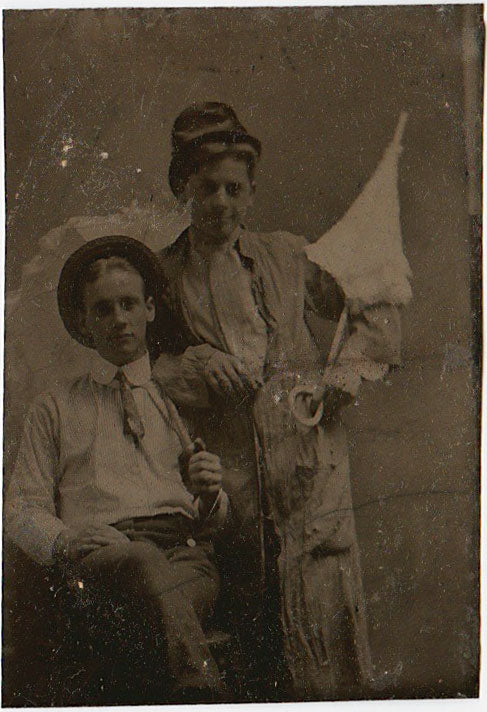 Affectionate Men with Parasols: Vintage Tintype