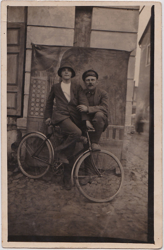 Two Affectionate Men with Bicycle: Real Photo Postcard