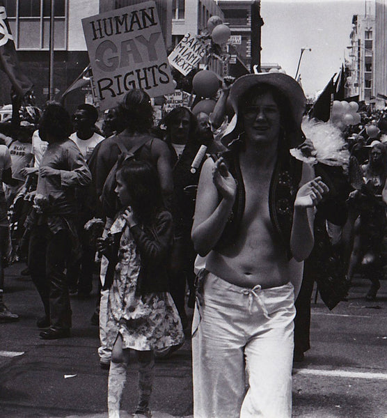 Celebrants at SF Pride.  Vintage real photo postcard by Marie Ueda, San Francisco.
