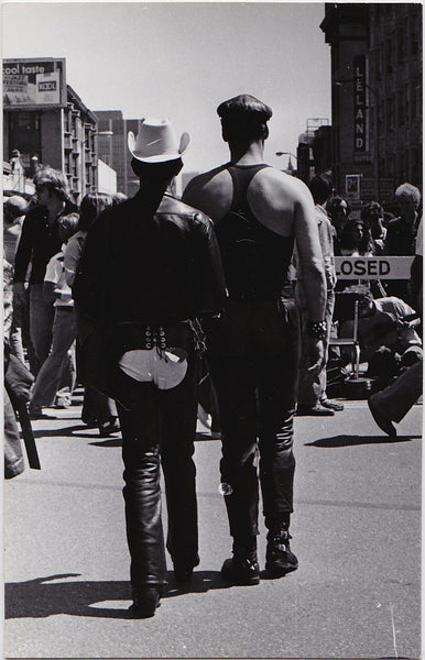 Two Leathermen at Gay Pride: Real Photo Postcard Marie Ueda 1977