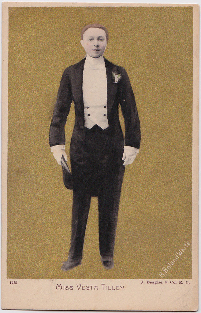Vesta Tilley in White Tie and Tails Real Photo Postcard