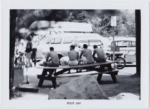Voyeur Series: Four Guys on a Picnic Table Vintage Photo