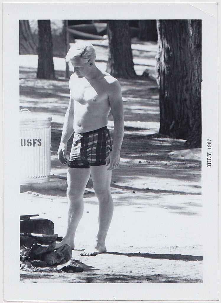 Voyeur Series: Blond Stud Standing vintage photo