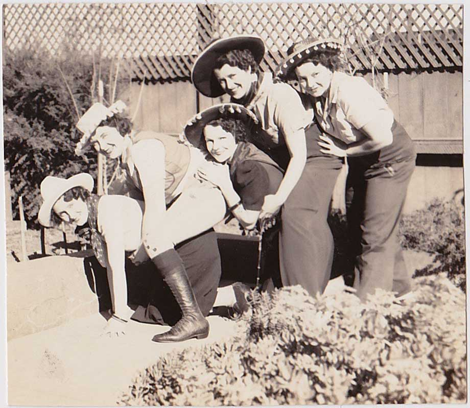 Women Playing Horsey: Vintage Snapshot