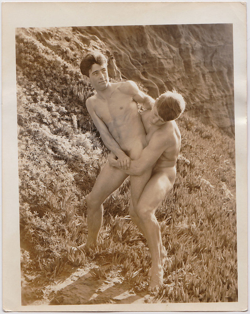 Anonymous vintage sepia photo two young naked wrestlers