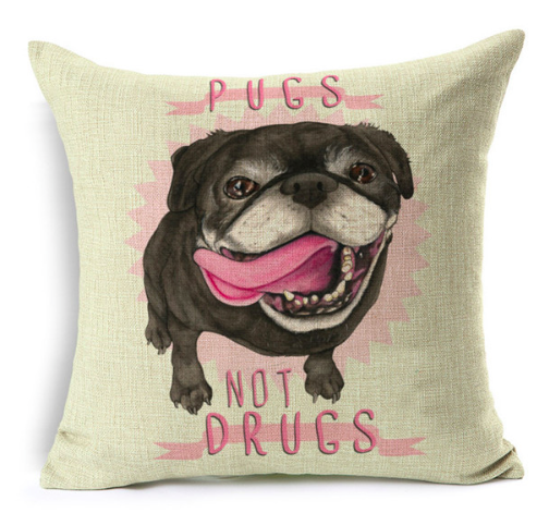 """Pugs Not Drugs"" Pillow Case"