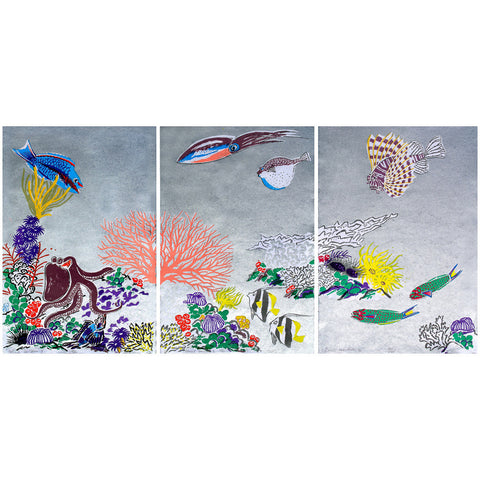 Coral Garden I, II, III (Sold as Set)
