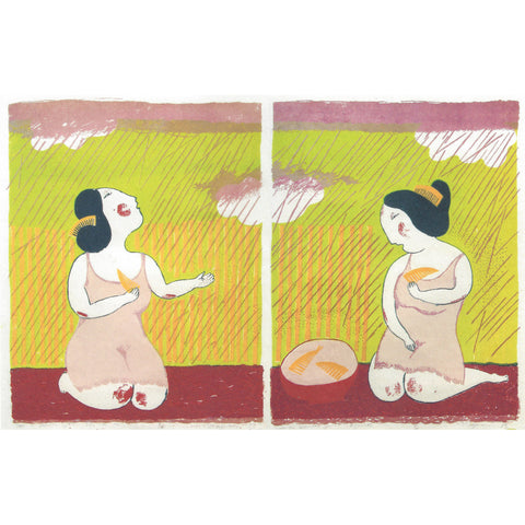 Rain in the Bamboo Grove (Diptych)