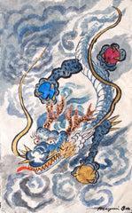Blue Dragon, Original Painting on Rice Paper