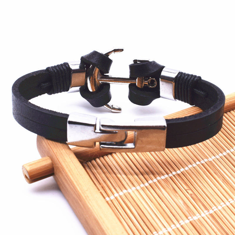 2017 Genuine Fishing Leather Bracelet for Anglers Men Jewelry Anchor