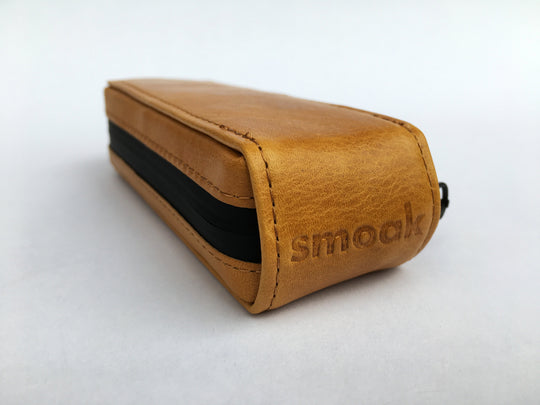 Smoak™ Premium All Natural Tan Leather Smell-proof Case + Hemp Wick & Poker (Smoak Pipe not included)