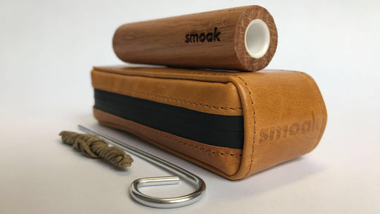 Smoak™ OG Ceramic + Leather Smell-Proof Case - Premium All Natural White Oak Smoking Pipe w/ a Woodbone Ceramic Bowl Inlay.  w/ Poker, Hemp, Wick and Ceramic Nectar Collector Tip Included. Designed & Made in USA - Smoak Wood Cigar Pipe