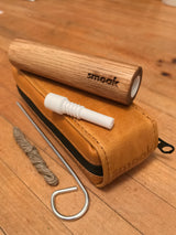 Smoak™ The Original Wooden Cigar. Premium All Natural White Oak Smoking Pipe w/ a Woodbone Ceramic Bowl Inlay. Leather Smell-Proof Case w/ Poker, Hemp, Wick and Ceramic Nectar Collector Tip Included. Designed & Made in USA - Smoak Wood Cigar Pipe