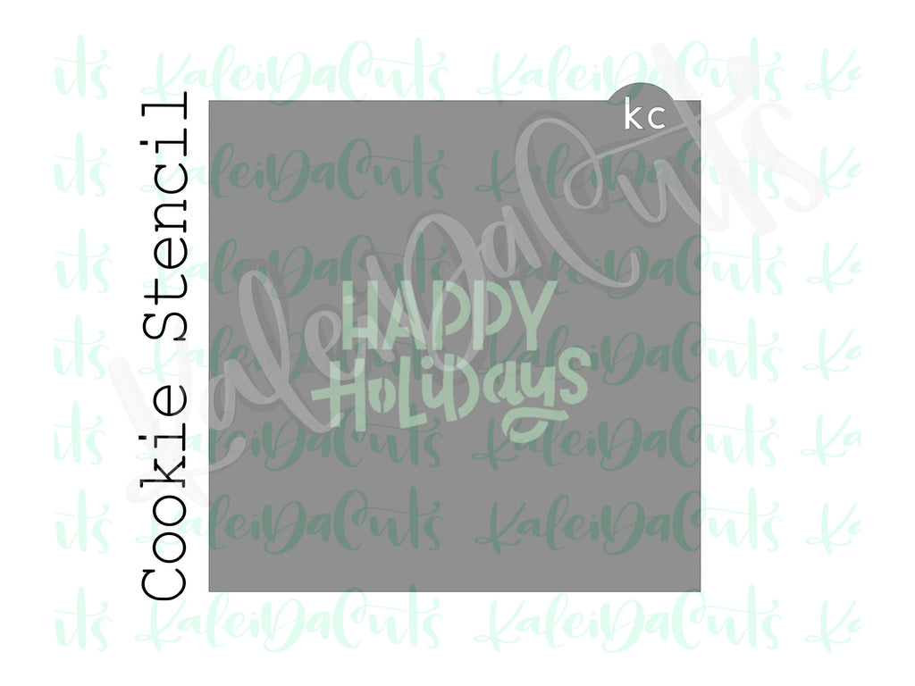Happy Holidays Lettering Cookie Stencil