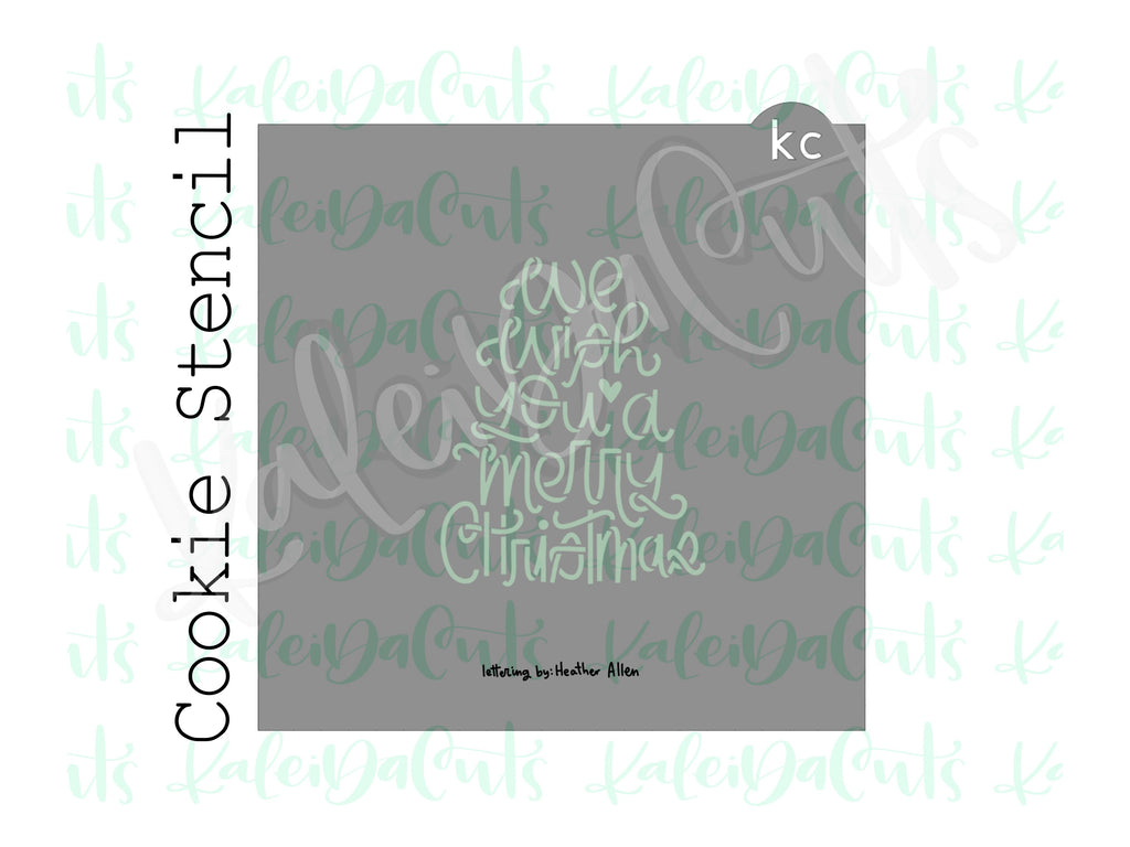 "Tree Silhouette - We Wish You a Merry Christmas Cookie Stencil (matches 4"" cookie cutter)"