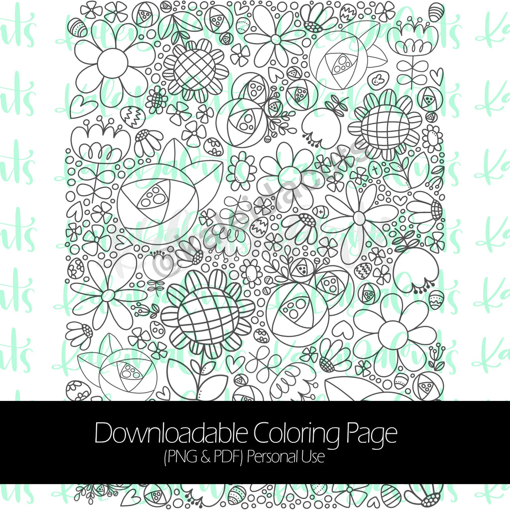 Spring Flowers Egg Hunt Coloring Page. Personal Use.