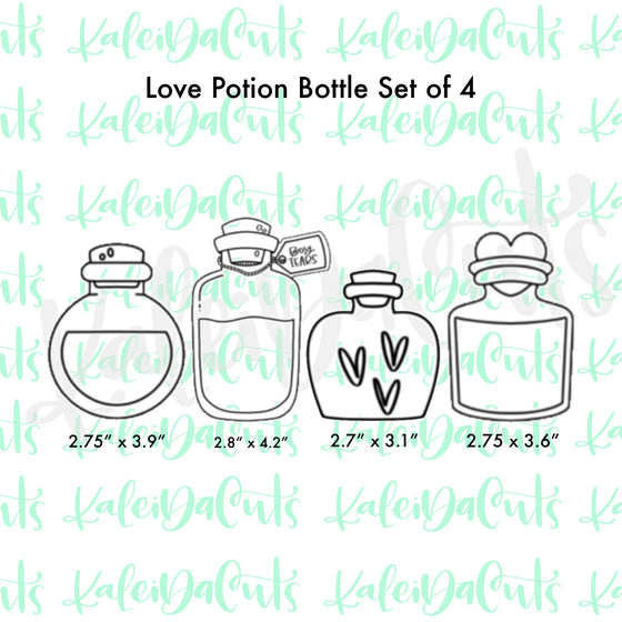 Love Potion Bottle Set of 4 Cookie Cutters