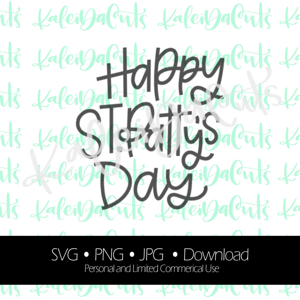 Happy St Pattys Day Lettering. Digital Download. SVG.
