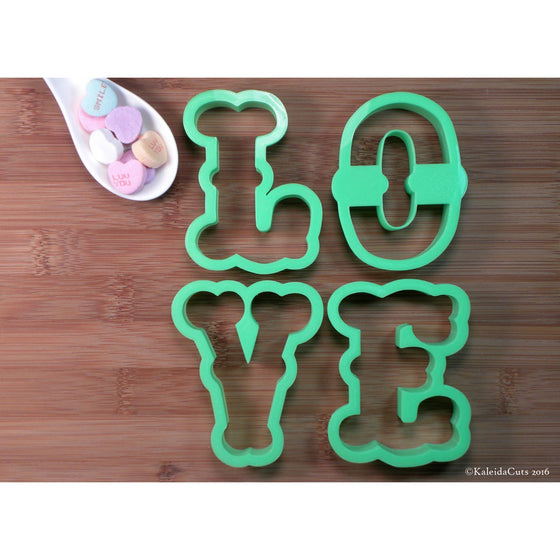 Fancy Font Love Cookie Cutter Set
