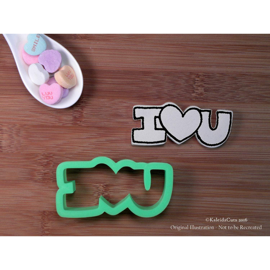 I Heart You Hand Lettered Cookie Cutter