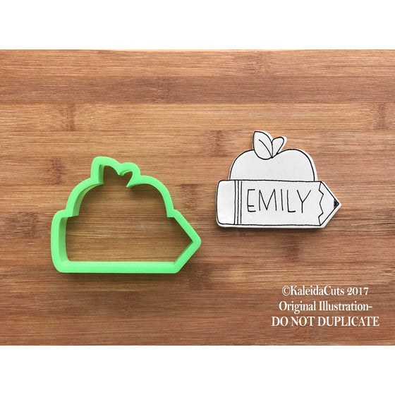 Apple Pencil Plaque Cookie Cutter