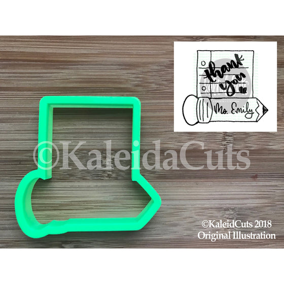 Note Pencil Plaque Cookie Cutter
