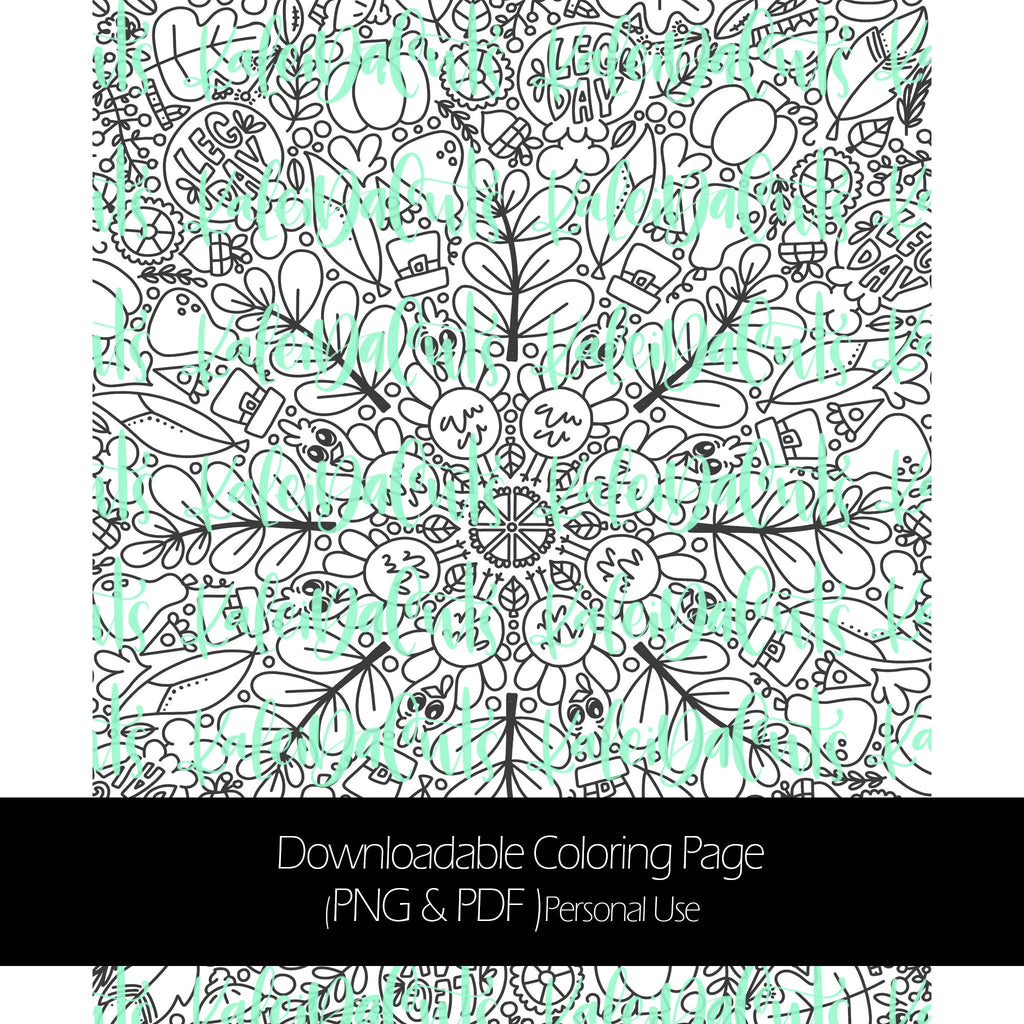 Thanksgiving Downloadable Coloring Page. Personal Use. KaleidaCuts Handlettering.