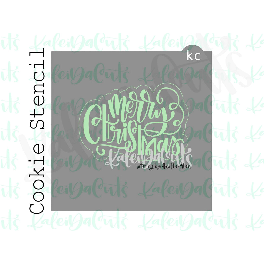 "Merry Christmas 2 Stencil (matches 4"" cookie cutter)"