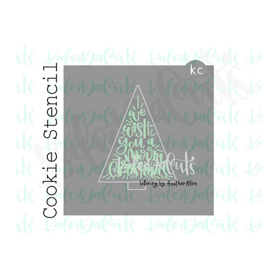 "We Wish You a Merry Christmas Lettering Cookie Stencil (matches 4.5"" triangle tree cookie cutter)"