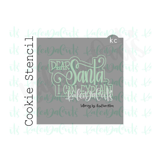 "Dear Santa... Lettering Cookie Stencil (matches 4"" cookie cutter)"