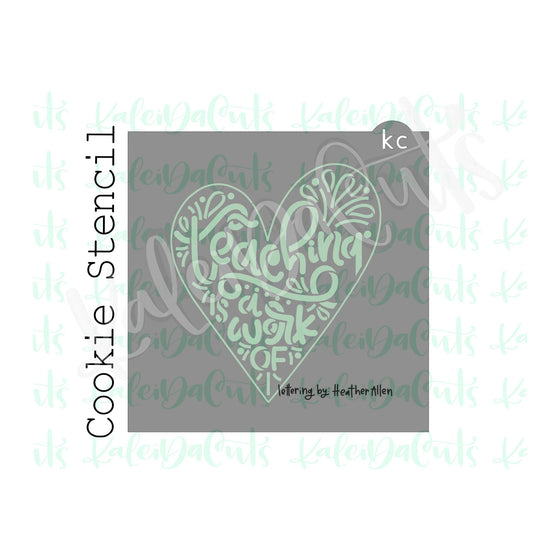 "4.5"" Teachers Heart Stencil"