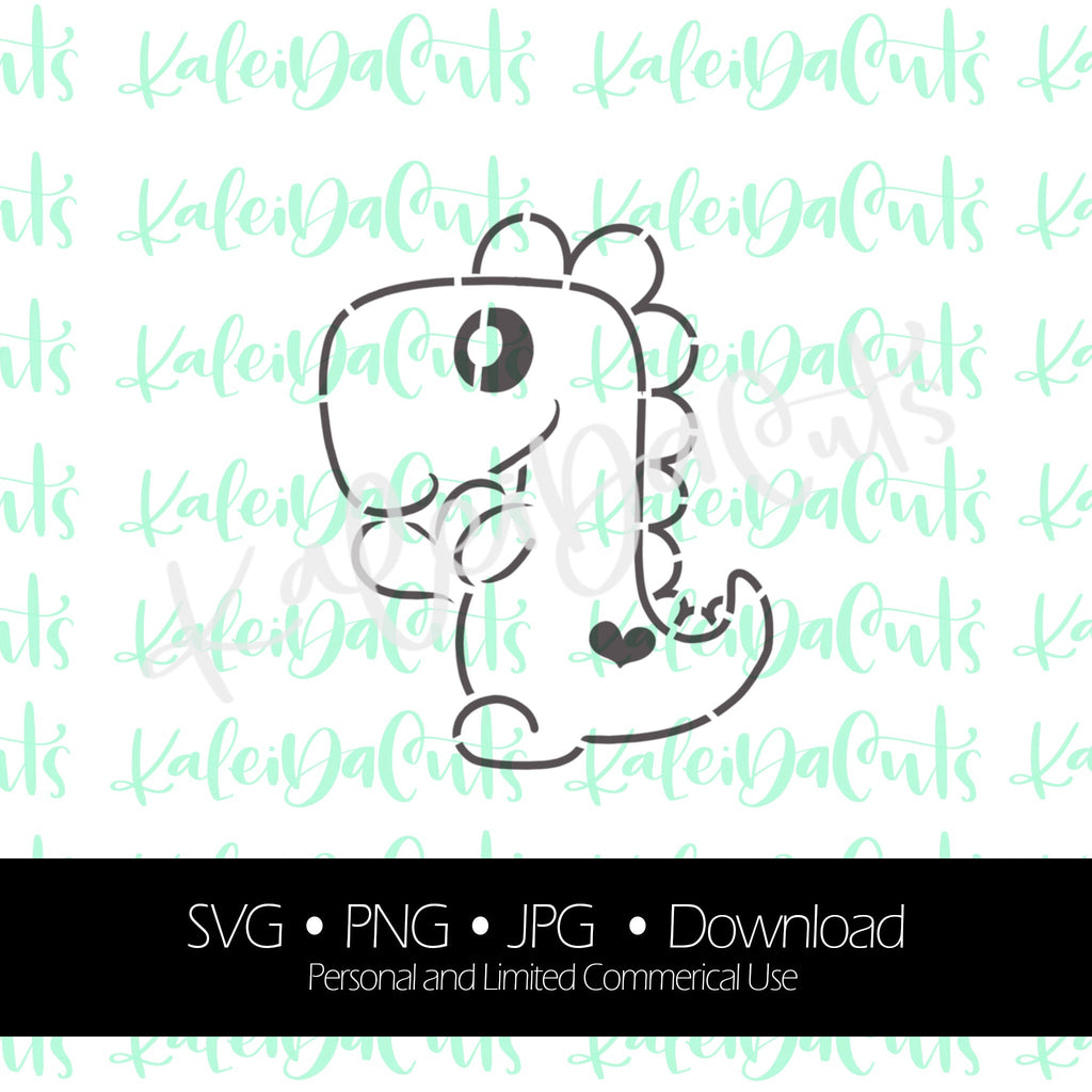 PYO Dinosaur Heart Digital Download. SVG. Personal and Limited Commercial Use. KaleidaCuts Handlettering.