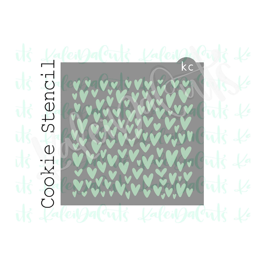 Scattered Hearts Pattern Stencil