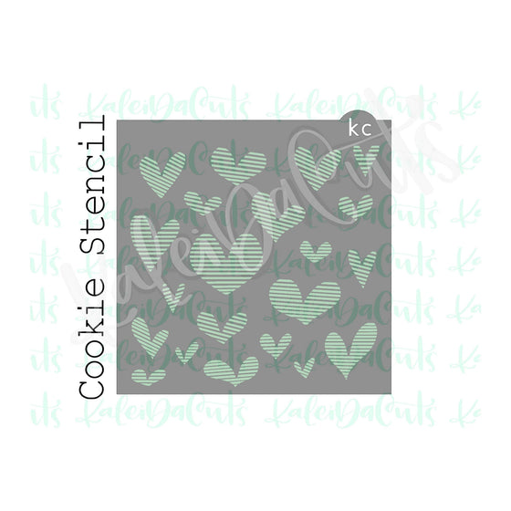 Lined Hearts Pattern Stencil
