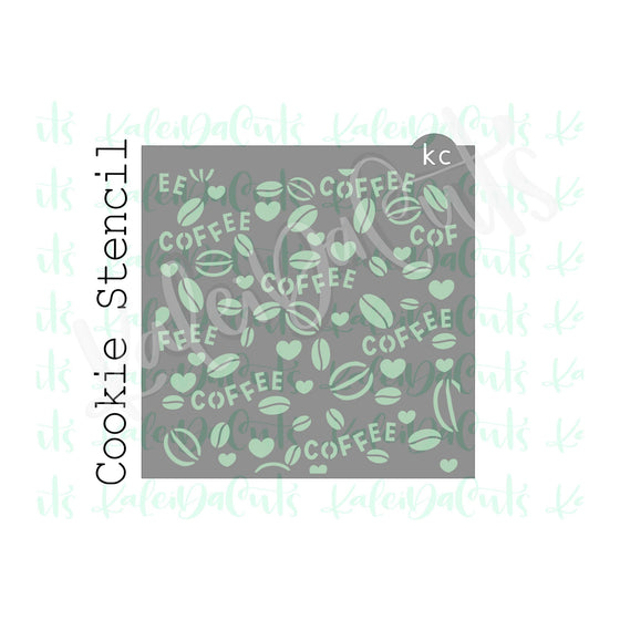 Coffee Bean Love Pattern Stencil