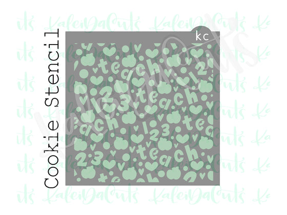 Teach Love 123 Pattern Stencil
