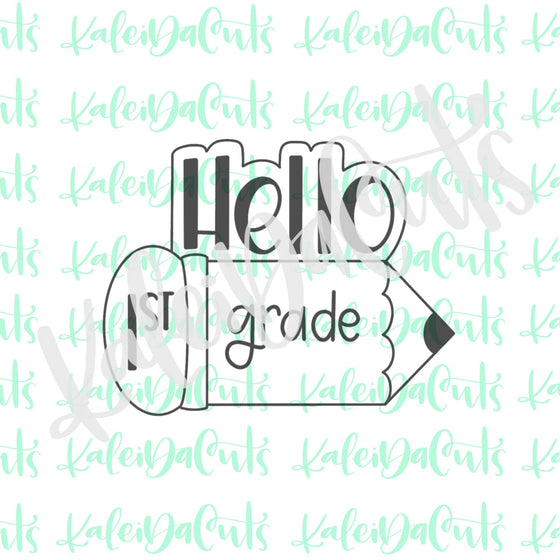 Hello Pencil Plaque Cookie Cutter